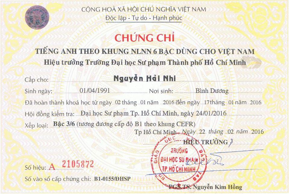 Mẫu bằng tiếng Anh b1- Đại học Sư phạm Thành Phố Hồ Chí Minh
