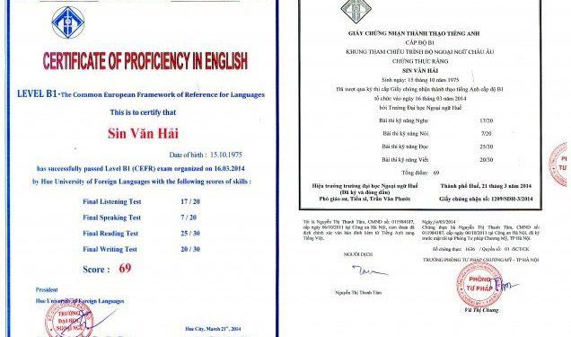 mẫu chứng chỉ tiếng Anh