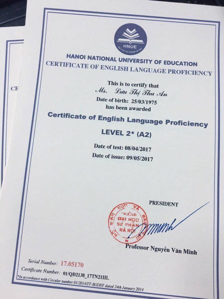 A2 đại học Hà Nội