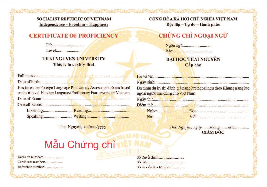 chứng chỉ tiếng Anh đại học Thái Nguyên