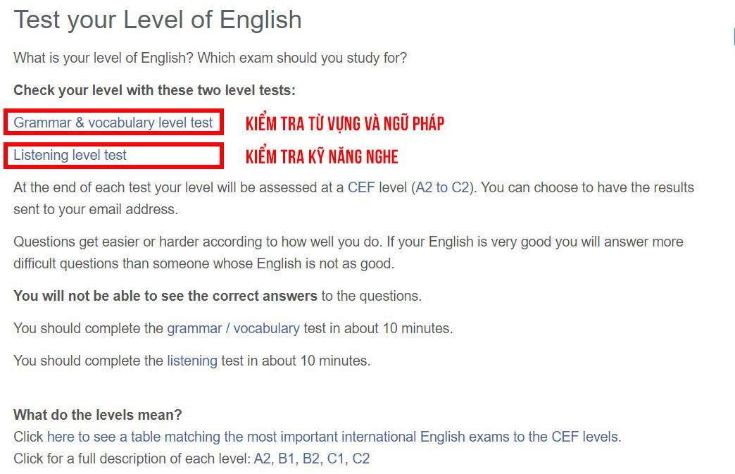 học tiếng anh B1 châu âu online