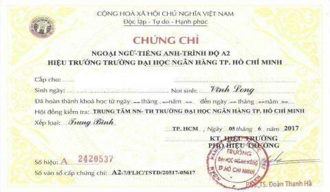 Thi chứng chỉ tiếng Anh đại học ngân hàng thành phố Hồ Chí Minh