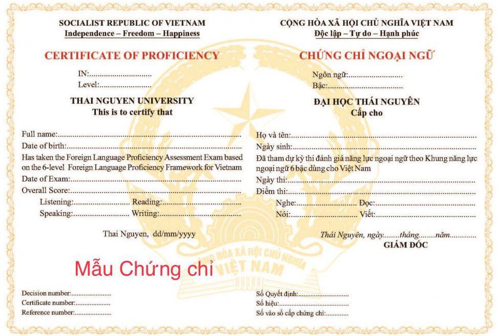 Mẫu bằng tiếng Anh đại học Thái Nguyên